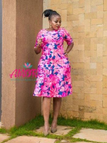 Floral pink n blue skater