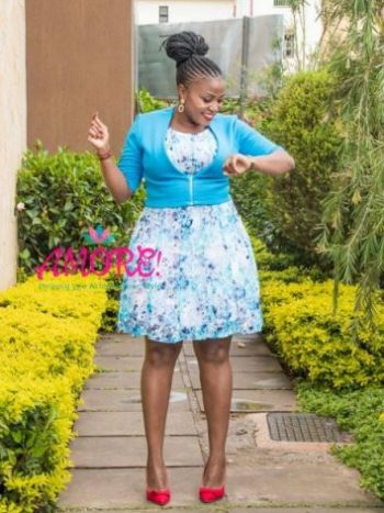 Floral turquiose blue dress with bullero