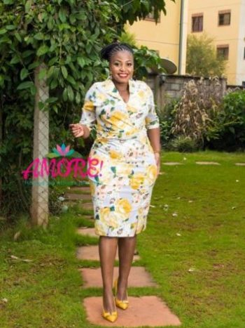 Floral yellow side slits bodycon