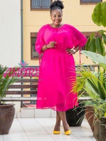Majenta pink chiffon dress