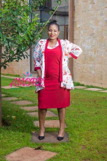 Maroon floral jacket dress
