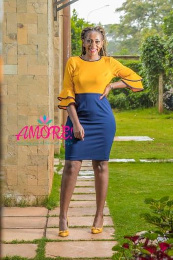 Mustard and blue bodycon