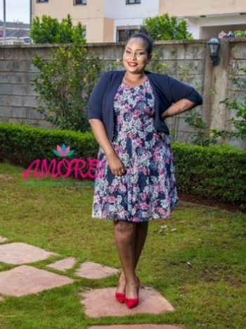Navy blue floral with blue bullero dress