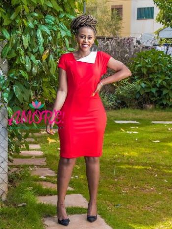 Red bodycon with white side collar