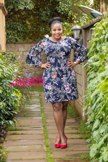 Ruffle sleeves floral shift dres