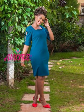 Till green cold shoulder dress with pearls