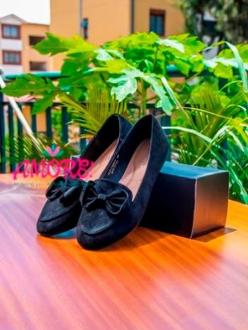 Black doll shoe with buckle