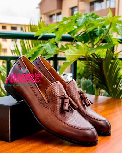 Brown croco tassel shoe