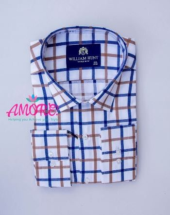 Checked brown and blue white shirt