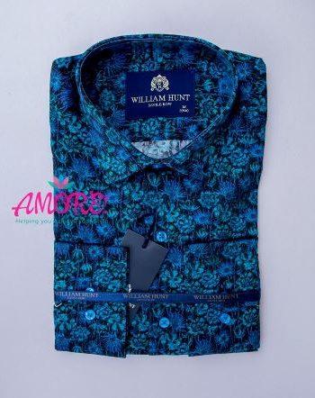 Floral turquiose blue shirt