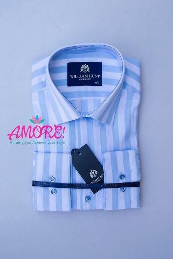 Striped light blue and white shirt