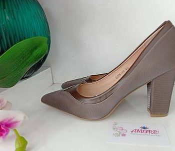 Coffee chunky heel
