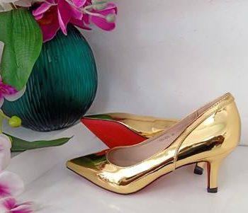 Gold back design kitty heel