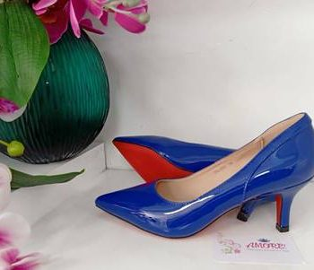 Royal blue back design kitty heel