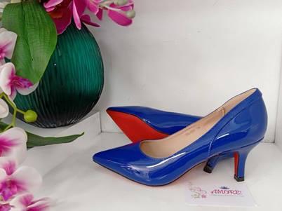 Royal blue back design kitty heel