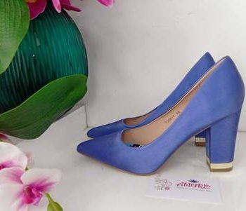 Royal blue chunky heel