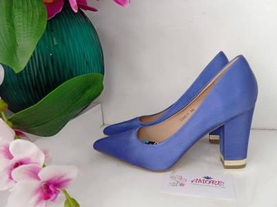 Royal blue chunky heel