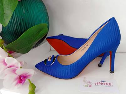 Royal blue woven heel