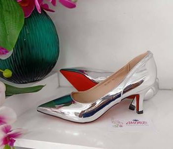 Silver back design kitty heel