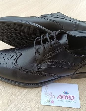 Safari black detailed brogue