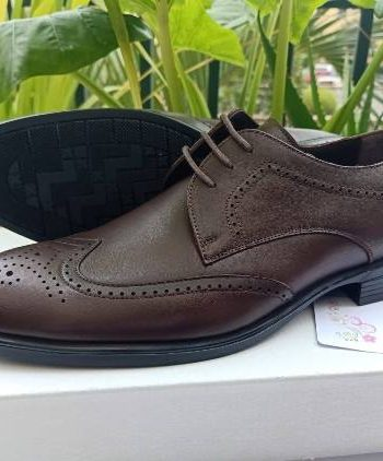Coffee oxford leather shoe