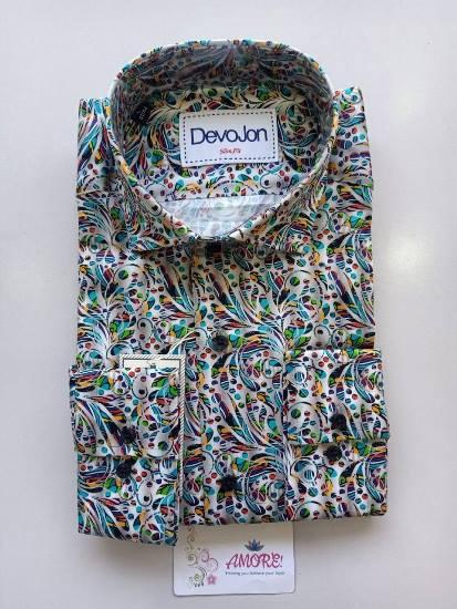 Green, black and white printed shirt