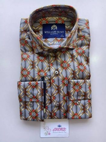 Grey, red and brown printed shirt