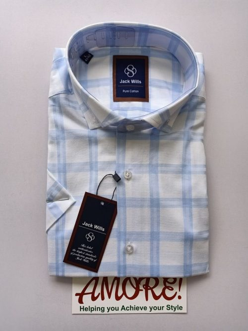 Checked blue and white short sleeve shirt