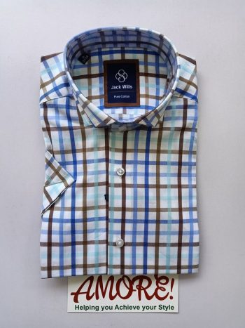 Checked brown and blue short sleeve shirt