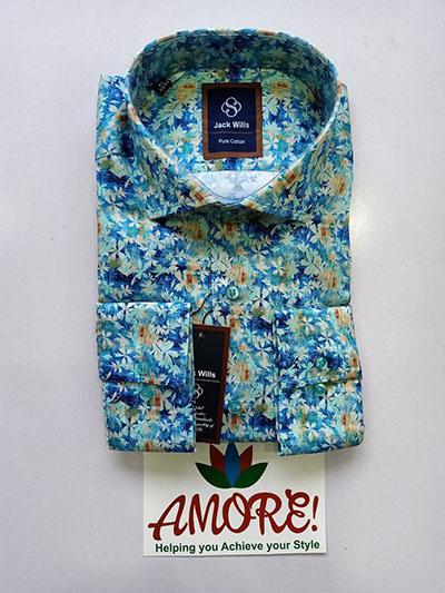 Aqua blue floral shirt