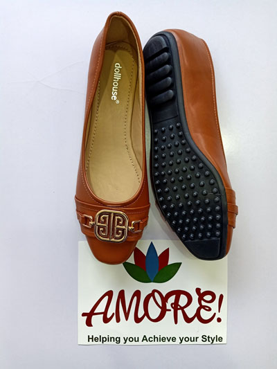 Brown doll shoe with gold decor