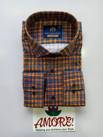 Checked orange and blue shirt