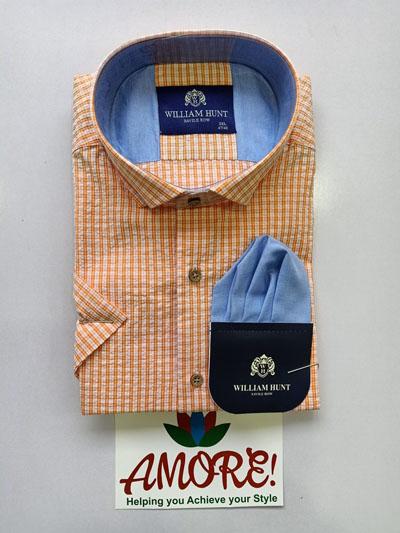 Checked orange short sleeve