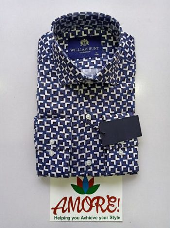 Navy blue and white printed shirt