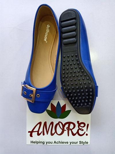 Royal blue doll shoe with belt