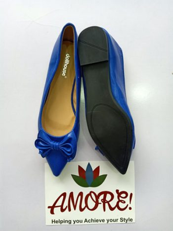 Royal blue pointed doll shoe with bow
