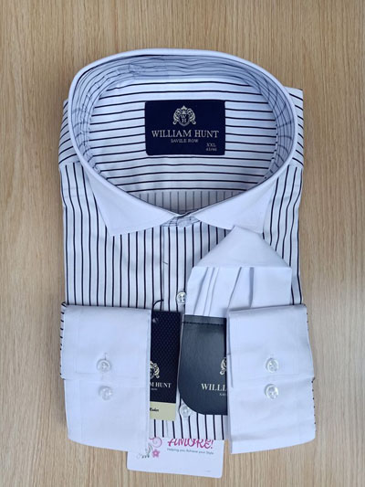 Striped shirt with white collar