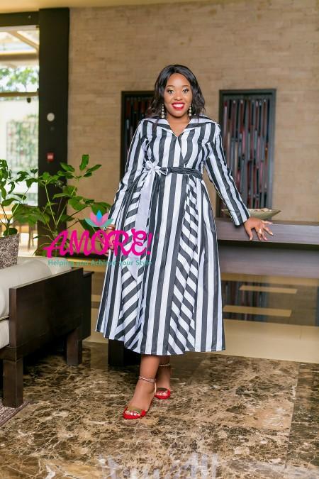 Black and white striped wrap round dress