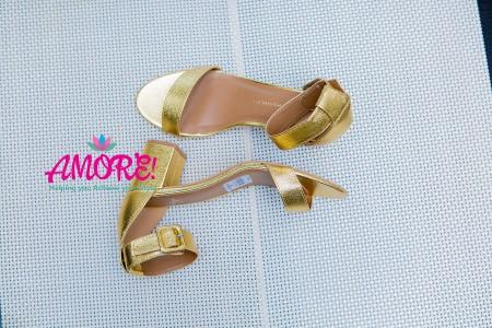 Gold block heel